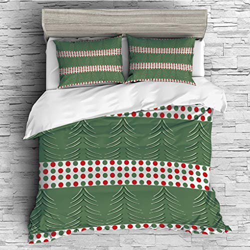 ver 2 Pillow Shams)/All Seasons/Home Comforter Bedding Sets Duvet Cover Sets for Adult Kids/Double/Geometric,Pine Tree Design with Curved Lines Chevrons Vibrant Polka Dots Decorati ()