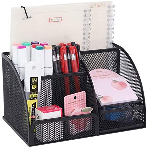 YCOCO Desk Organizer for Office,All in One Desktop Organizer with Note Paper Organizer and Pencil Holder,Black Metal Mesh Office Organizer for Office Supply and Desk Accessories Organizers