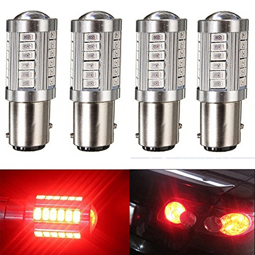 KATUR 4pcs 1157 BAY15D 5630 33-SMD Red 900 Lumens 8000K Super Bright LED Turn Tail Brake Stop Signal Light Lamp Bulb 12V 3.6W