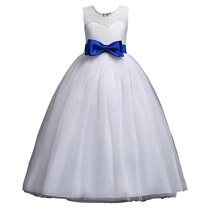 Amazon.com: WARMSHOP Children Girls Solid Sleeveless Flower Lace ...
