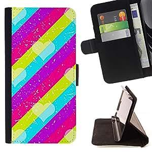 Momo Phone Case / Flip Funda de Cuero Case Cover - Modelo rosado del trullo púrpura Líneas - HTC DESIRE 816