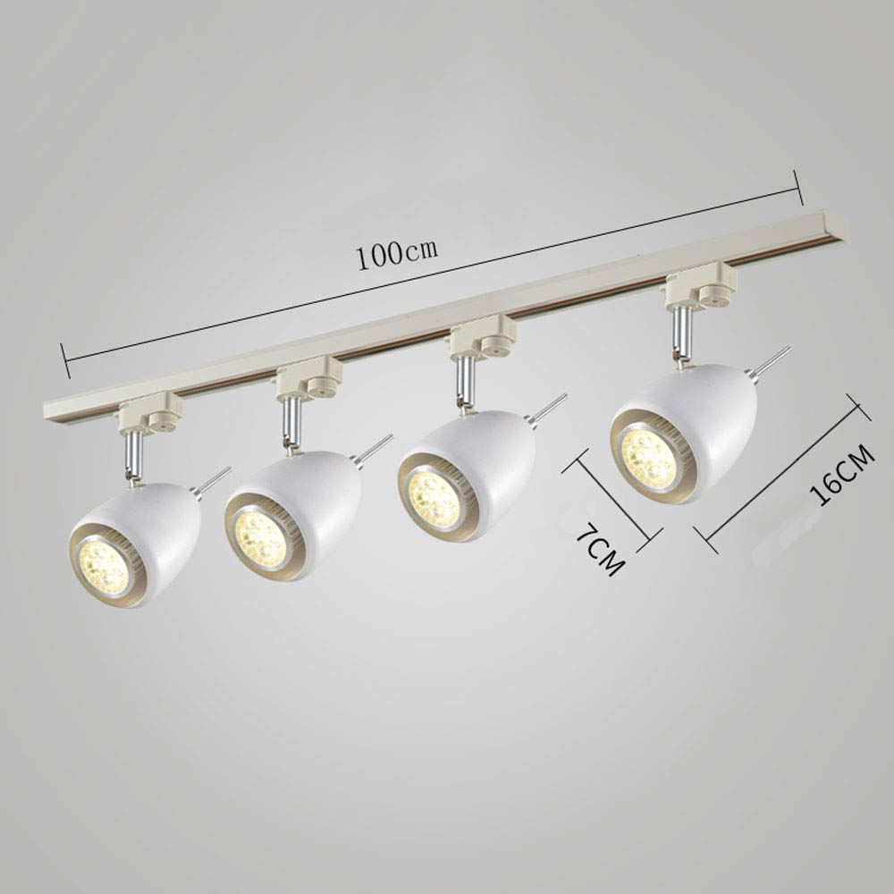 Mei Xu Track Light - Industrial Wind Corridor Light Track Lights - 4 Heads - 2 Colors (Black/White) Track Lamp (Color : White, Size : 9cm in Diameter)