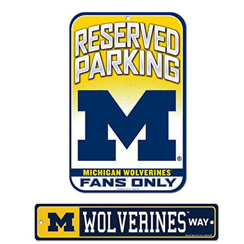 - WinCraft Bundle - 2 Items: University of Michigan Plastic Street Sign and Reserved Parking Sign