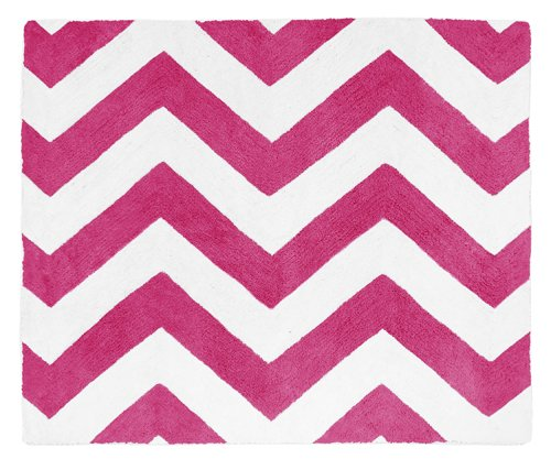 Hot Pink and White Chevron Zig Zag Accent Floor Rug Review