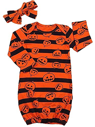 (YOUNGER TREE Newborn Baby Boys Girls Sleeper Pumpkin Sleep Bag Stripe Sleep Sack Coming Home with Headband (Orange, 0-3 Months))