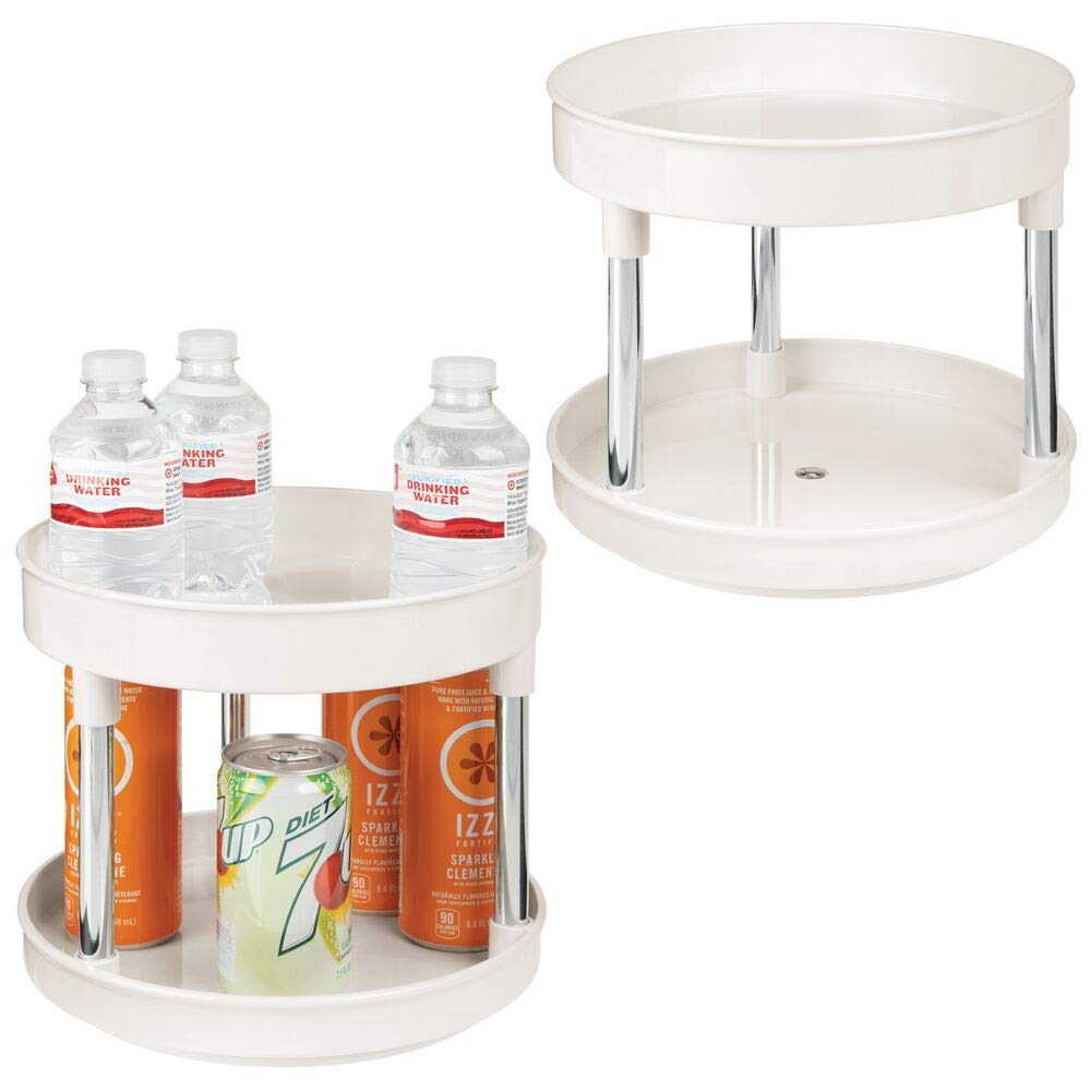mDesign 2 Tier Lazy Susan Turntable Food Storage Container for Cabinets, Pantry, Fridge, Countertops - Spinning Organizer for Spices, Condiments, 2 Pack - Cream/Chrome