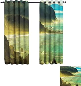 "Antonia Reed Grommet Curtain Landscape,Pacific Ocean in Mist for Living Room 62""x62"""