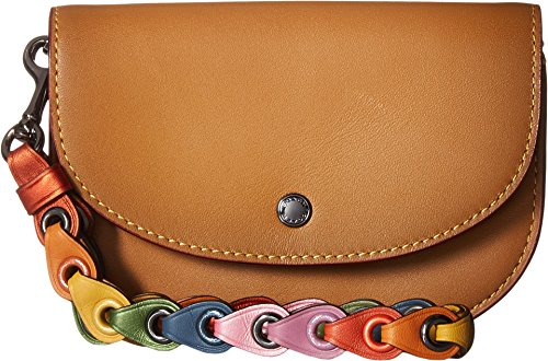 COACH Women's Double Pouch with Coach Link Strap Dk/Light Saddle One Size