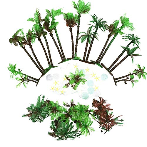 42 PCS Coconut Palm Tree, Seasonsky 20 PCS Mini Plastic Artificial Palm Tree, 22 PCS Shell and Starfish for Cupcake Topper, Cake Decorations, Aquarium Plants, Building Model Landscape -