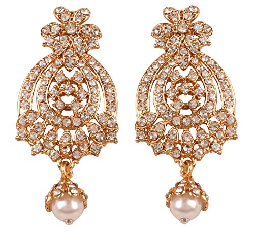 NEW Touchstone Indian Bollywood Traditional Majestic Look Pretty Filigree White Rhinestone Faux Pearls Hangings Long Designer Jewelry Chandelier Earrings In Gold Tone For Women.