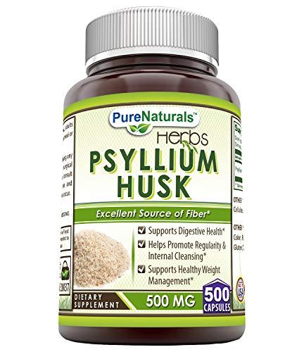 Psyllium 500 Mg 100 Capsules - Pure Naturals Psyllium Husk 500 Mg, 500 Count