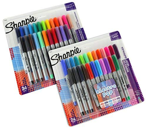 Sharpie Ultra-Fine Point Permanent Markers, Classic and Electro Pop Colors, 48 Markers In Total ()