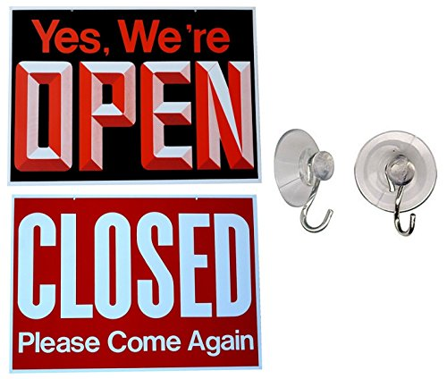 1 Pc Likely Unique Yes We're Open Closed Please Come Again Hanging Sign Window Door Retail Store During Business Hours Outdoor Plastic Will Return Clock Letters Decal Size 13
