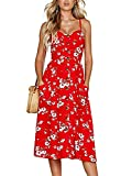 ECHOINE Women Red Floral Midi Boho Beach Dress with Pockets Plus Size