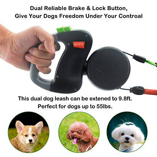 Mowis Dual Dog Leash, Double Retractable Non Tangling Heavy Duty 10ft Leashes, Walking 2 Dogs up to 50lbs, One-Handed Brake/Pause/Lock by Mowis (Image #3)