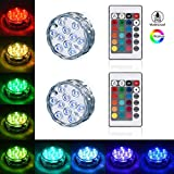 LEDGLE Submersible LED Light Bathtub Light Battery Operated Multi Color Changing Waterproof Decorated s with Remote Control for Aquarium Hot Tub Vase Base Party Wedding (2 Pack)