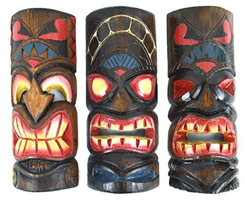 - Set of 3 Polynesian Tiki Bar Style Wall Masks 12 in Island Art