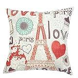 Retro Vintage Love in Paris Eiffel Tower Cotton Linen Home Pillow Case Cushion Cover 18