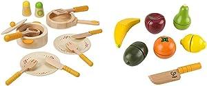 Hape Gourmet Play Kitchen Starter Accessories Wooden Play Set & Award Winning Fresh Fruit Wooden Kitchen Play Food Set