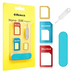 SIM Card Adapter, Helect 5-in-1 Nano & M...