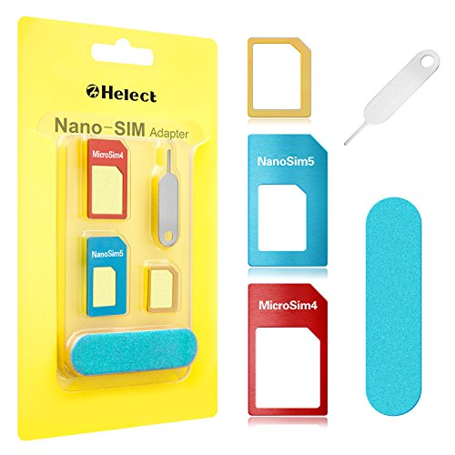 SIM Card Adapter, Helect 5-in-1 Nano & Micro SIM Card Adapter Kit Converter with Polish Chip and Eject Needle - H1050 (Iphone 3 To Iphone 4 Sim Card)