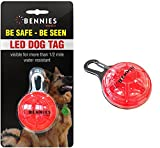 Red led dog collar tag blinking light, Bennies World, LED Clip-On dog collar lights. Bright blinking led dog light tag, 4 colors available