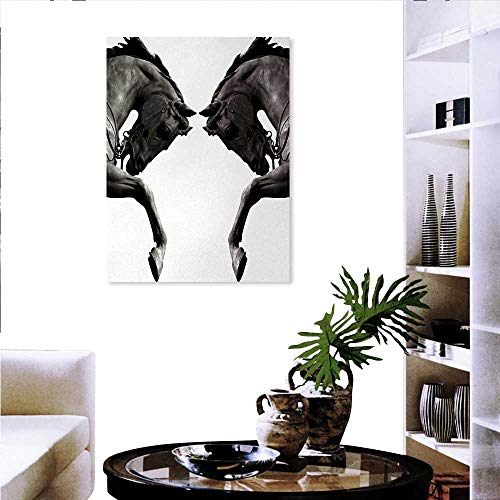 Warm Family Sculptures Background Wall Stickers Twin Contrast Horse Heads Statue Image Vintage Style Abstract Art Antique Theme Canvas Wall Art Set 24