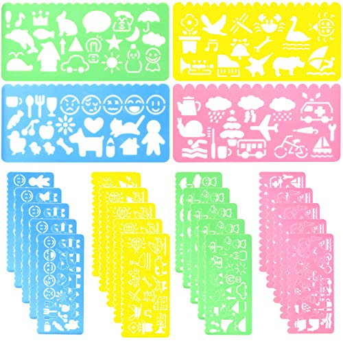24 Pcs Plastic Drawing Stencils Set for Kids Colorful Drawing Scale Template DIY Crafts Set for Boys Girls with Animal Stencils - 6 Sets of 4 Different Stencils by - Stencils Kids Art