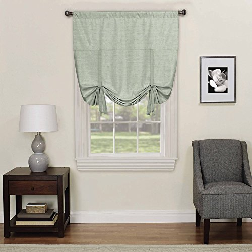 Eclipse 16170042X063SPA Kendall 42-inch by 63-inch Blackout Window Single Tie-up Shade, Spa by Eclipse Curtains