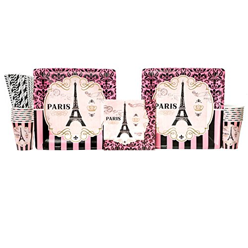 Day in Paris Birthday Party Supplies Pack for 16 Guests: Straws, Dinner Plates, Luncheon Napkins, and Cups -