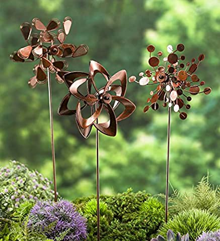 Set of 3 Metal Pinwheel Decorative Garden Stakes 7 L x 4.25 W x 22 H Copper Finish - Kinetic Metal Sculpture