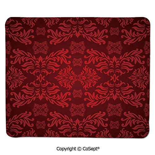"""Ergonomic Mouse pad,Classical Ancient Nature Leaf Motifs Floral Tile Old Fashioned Grunge Antiquity,Water-Resistant,Non-Slip Base,Ideal for Gaming (7.87"""" x 9.44""""),Maroon Scarlet"""