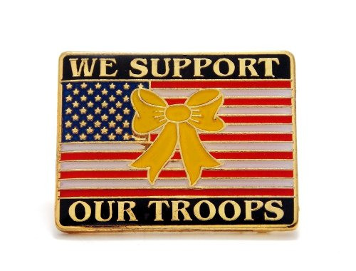 USA Flag Yellow Ribbon We Support Our Troops Military Lapel Hat Pin (Troops Ribbon Pin)