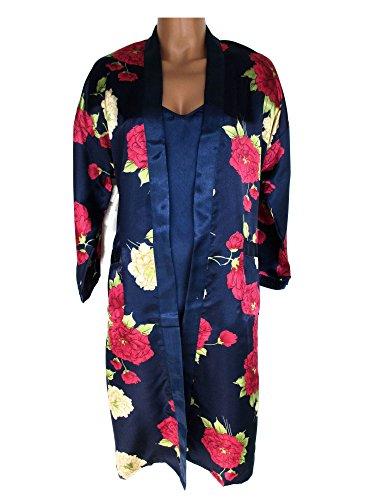 Edles Nachtwäsche-Set, Negligé + kurzer Kimono, dunkelblau, marine mit Blumenmuster