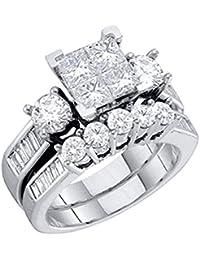 Diamond Bridal Set 10K White Gold Engagement Ring/Wedding Ring Set Princess Cut White Gold 10k 2pc Set (1.00cttw, i2/i3, I/j)