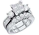 Diamond Bridal Set 10K White Gold Engagement Ring / Wedding Ring Set Princess Cut White Gold 10k 2pc Set (1.00cttw, i2/i3, I/j)
