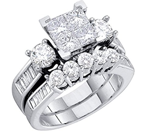 Midwest Jewellery Diamond Brida10K White Gold Engagement Ring/Wedding Ring Set Princess Cut White Gold 10k 2pc Set (1.00cttw, i2/i3, I/j) (white-gold, 9) 10k Bridal Set Ring