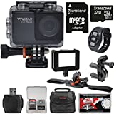 Vivitar DVR794HD 1080p HD Wi-Fi Waterproof Action Video Camera Camcorder (Black) Remote, Vented Helmet & Handlebar Bike Mounts + 32GB Card + Case + Kit