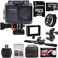 Vivitar DVR794HD 1080p HD Wi-Fi Waterproof Action Video Camera Camcorder (Black) with Remote, Vented Helmet & Handlebar Bike Mounts + 32GB Card + Case + Kit
