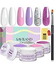 Saviland Poly Nails Gel Kit - Clear Poly Nail Extension Gel Builders Gel with 100pcs Dual Nail Forms Nail Brush and Slip Solution for DIY Manicure Nail Art Starter Kit Nail Supplies