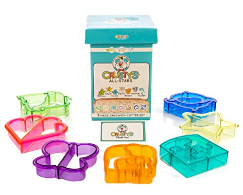 Crusty's All-Stars Sandwich Cutters - Set of 7 High-Quality Crust & Cookie Cutters - Butterfly, Dinosaur, Dolphin, Elephant, Heart, Puzzle and Star in Fun and Sturdy Gift & Storage Box