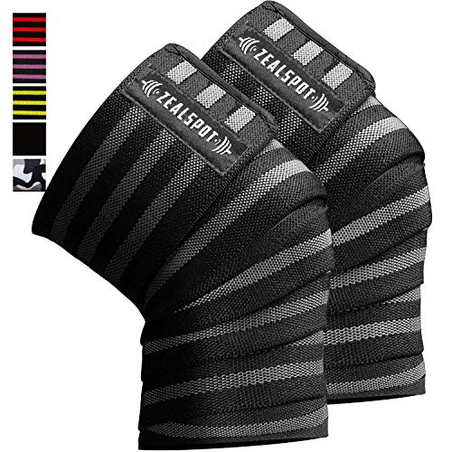 Zealspot Knee Wraps(Pair) Compression & Elastic Support for Cross Training,WODs,Gym, Workout,Weightlifting,Fitness & Powerlifting - Best Knee Straps for Squats -for Men & Women- 80