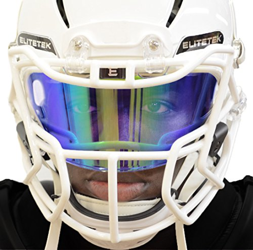 EliteTek PRIZM Football Eye-Shield Facemask Visor by Universal Fits Youth & Adult Helmets (Blue (Adult Football Face Mask)