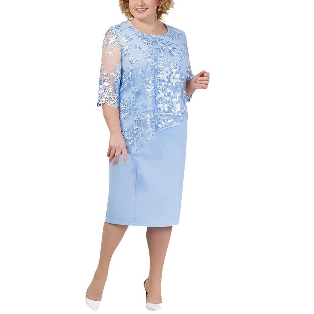Seaintheson Womens Dress, Ladies Plus Size Cocktail Dress Short Sleeve Lace Midi Dress Elegant Evening Party Mini Skirt by Seaintheson