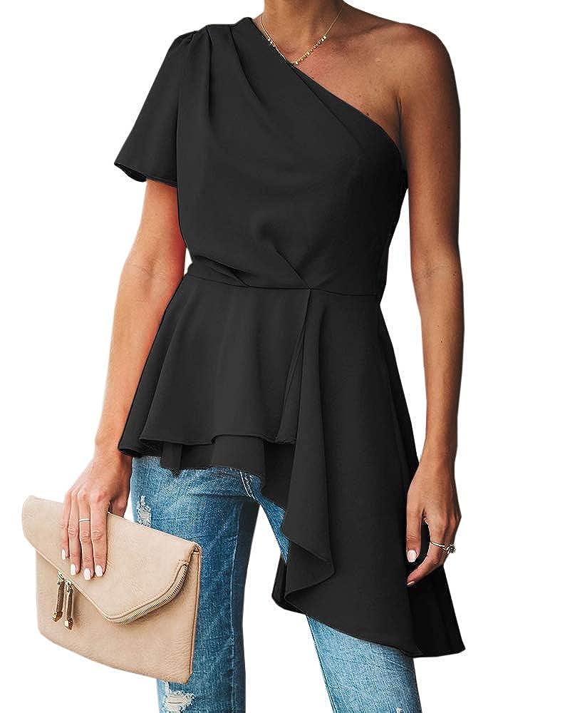 Bigyonger Womens Ruffle Tube Tops Asymmetrical Hem Strapless Statement Tunic Shirt