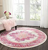 "Nourison PSN03 Passion Modern Traditional Area Rug, 5'3"" x5'3"", IVORY/FUSHIA"