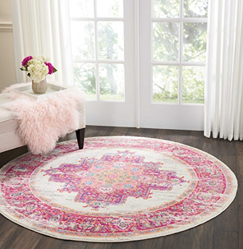 Nourison Passion Distressed Vintage Ivory/Fuschia Area Rug 4' x Round by Nourison
