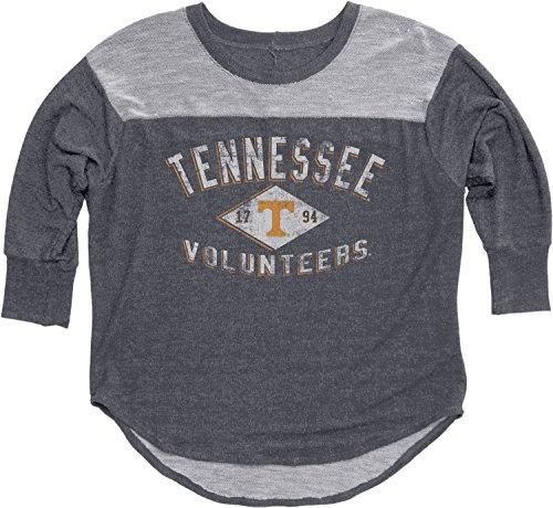 Yokes Charcoal - NCAA Tennessee Volunteers Women's BK Premium Terry 3/4 Yoke Tee, Charcoal, X-Large