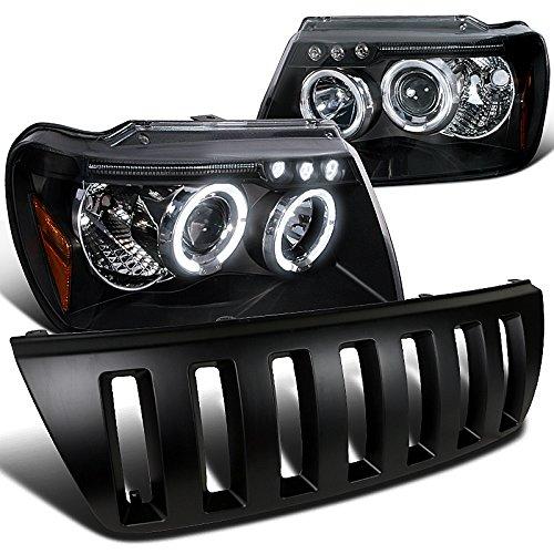Jeep Grand Cherokee (modelos de proyector de DRL LED negro Halo Faros delanteros + rejilla de campana: Amazon.es: Coche y moto