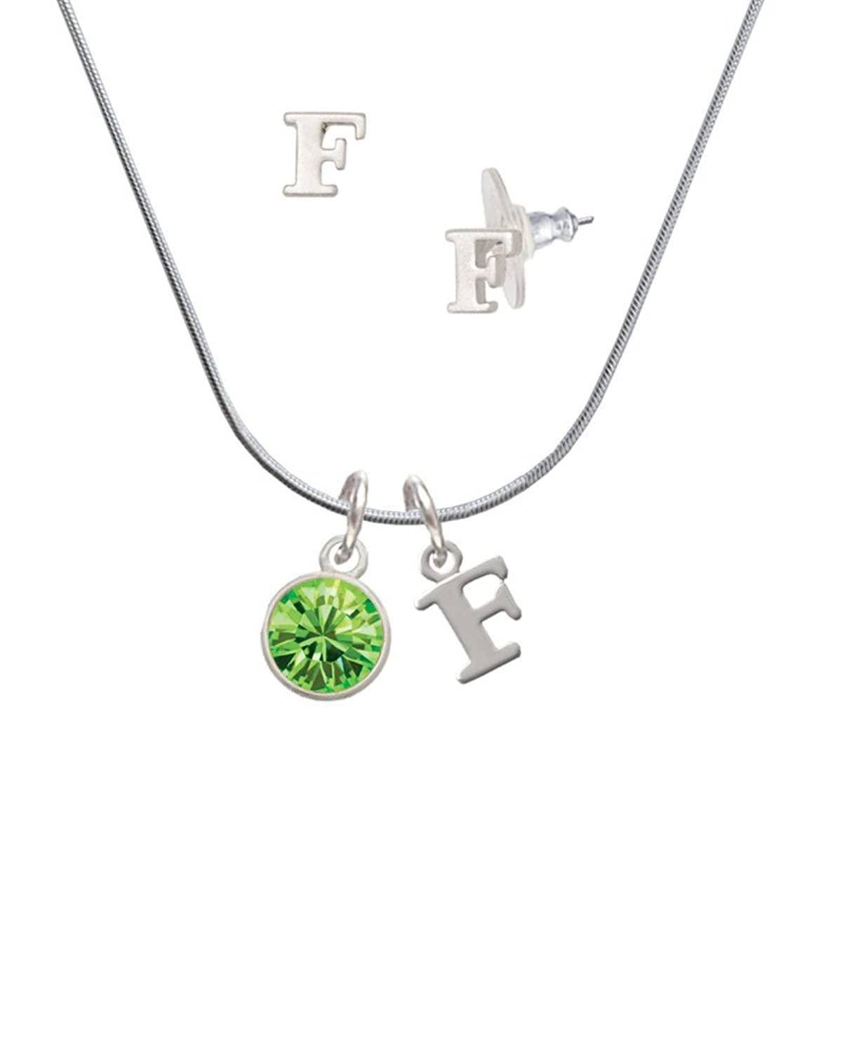 10mm Lime Green Oktant Crystal Drop - F Initial Charm Necklace and Stud Earrings Jewelry Set